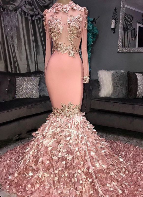 Luxurious Crew Long Sleeves Mermaid Appliques Prom Dresses | Sweep Train Ruffles Evening Gown On Sale BC1046