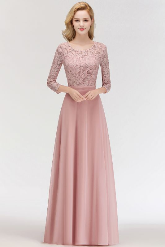 Pink Lace Long Evening Dresses with Sleeves | 2020 A-Line Scoop Bridesmaid Dresses Cheap