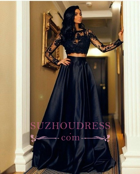 Black Long-Sleeve Modern Two-Piece A-line Lace Prom Dress SP0429
