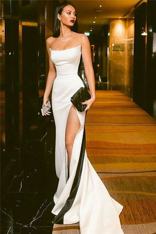 Strapless Sexy Side Slit Evening Dresses Cheap Online | Black White Sleeveless Cheap Formal Party Dress 2020 BC0527