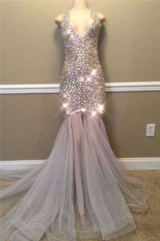 Sparkling Crystal Straps V-neck Prom Dresses | Open Back Mermaid Sexy Evening Gowns