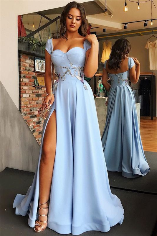 Cap Sleeves Open Back Blue Formal Evening Dress 2020 | Sexy Side Slit Appliques Prom Dresses Cheap bc1747