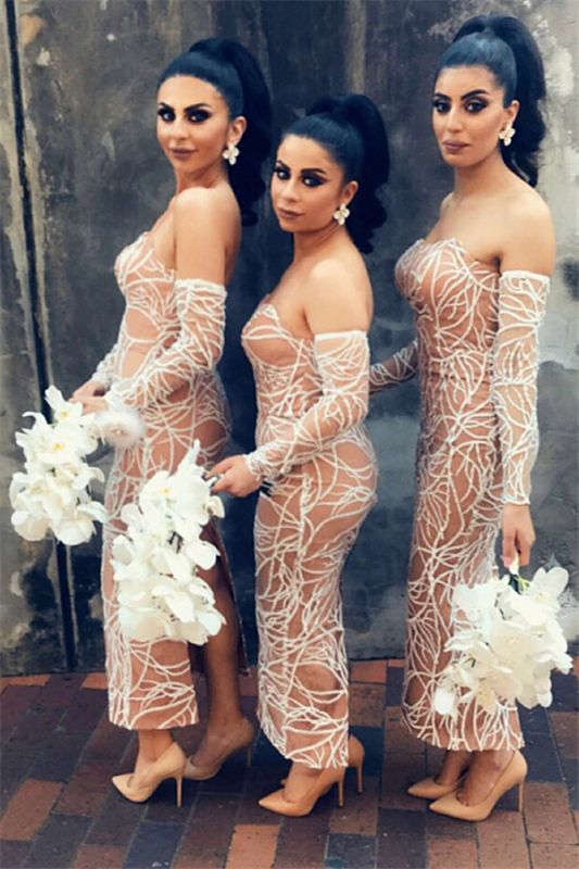 Nude Lining Sexy Bridesmaid Dresses Cheap   Long Sleeve Back Slit Strapless Wedding Party Dresses