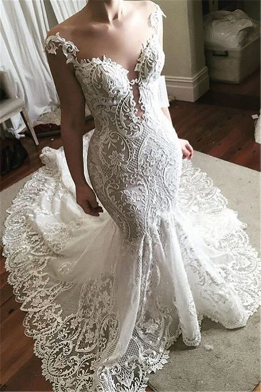 Sexy Lace Mermaid Wedding Dress 2020 | Glamorous Sheer Tulle Bridal Gowns with Buttons