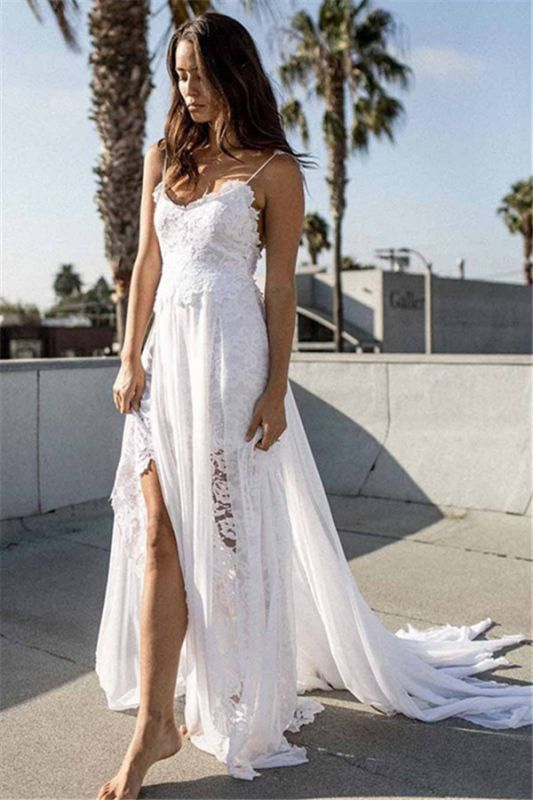 Simple A-line Lace Beach Wedding Dresses 2020   Spaghetti Straps Sexy Bridal Gowns