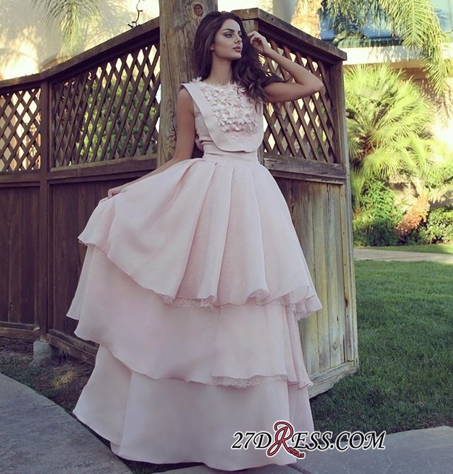 Pink A-line Tiered Evening Dresses 2020 | Cheap Chiffon Appliques Formal Dresses