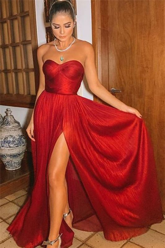 Burgundy Strapless Side-Slit Prom Gown | Sexy Sweetheart A-Line Prom Dresses