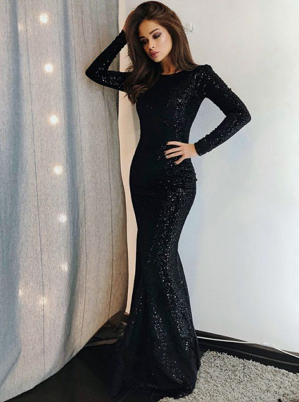 Long Sleeve Black Sequins Evening Gowns Cheap | Sexy Sheath Mermaid 2020 Prom Dresses Online