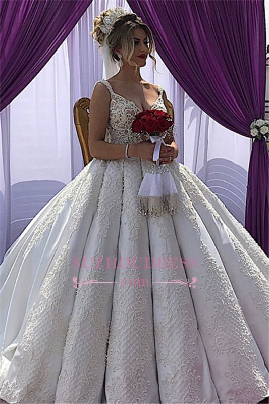Appliques V-neck A-line Straps Sleeveless Fascinating Wedding Dresses