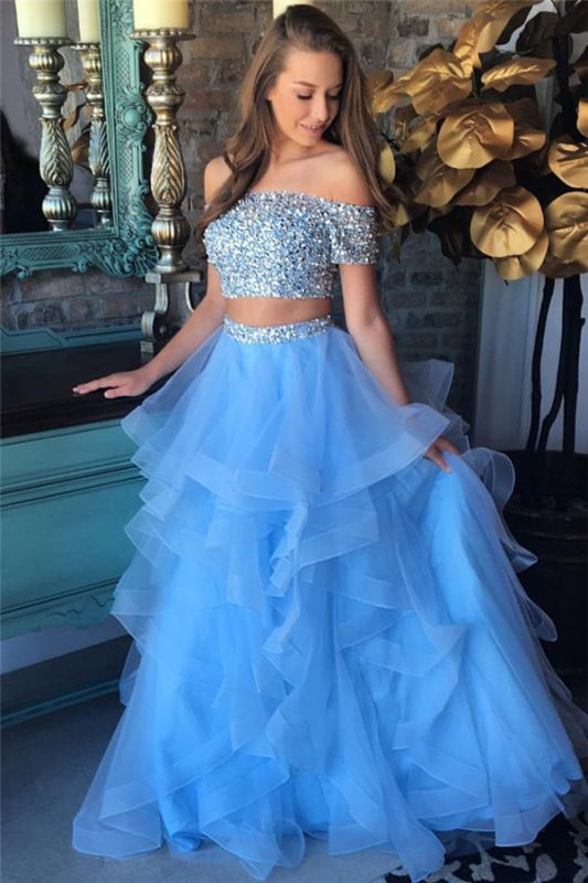Off the Shoulder Crystals Beads 2020 Two Piece Prom Dress Blue Organza Tiere Ruffles Evening Gown FB0227