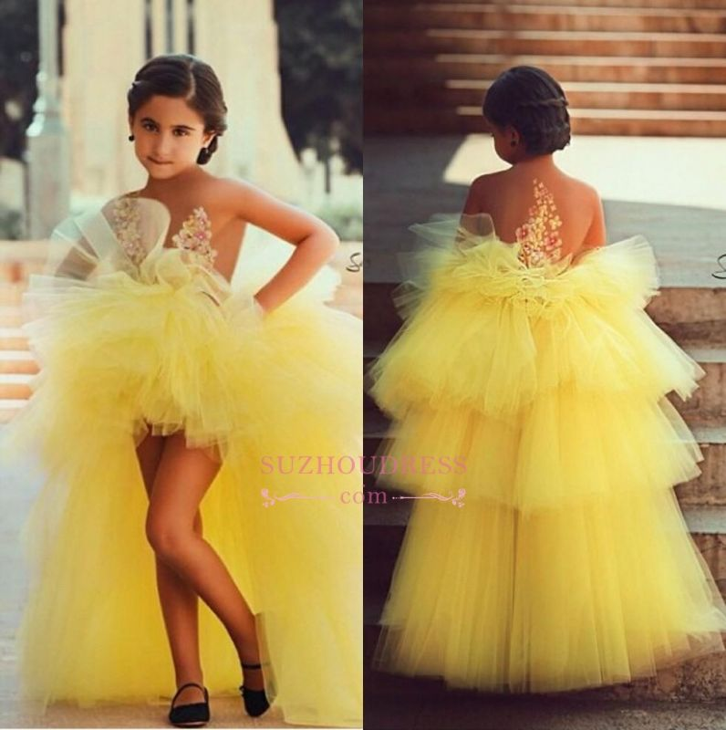 Lovely Tulle Short Flowers Lovely Little Girls Pageant Dress Appliques Tiered Flower Girls Dress