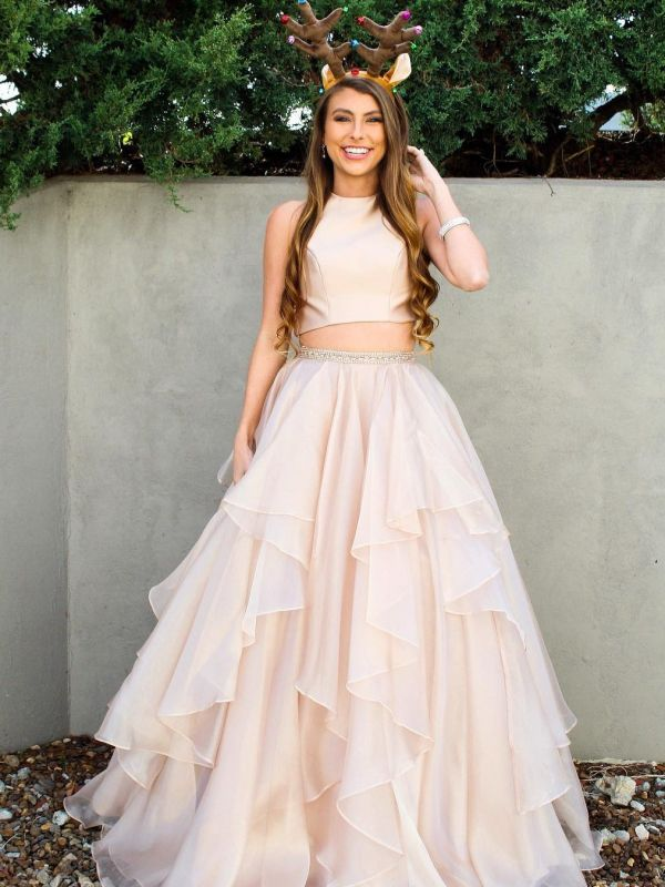 Chic Baby Pink Two Pieces Evening Dresses | Jewel A-Line Sleeveless Tiered Prom Dresses 2020