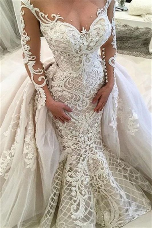 Glamorous Long Sleeves Lace Wedding Dresses 2020 | Sexy Mermaid Bridal Gowns with Detachable Skirt
