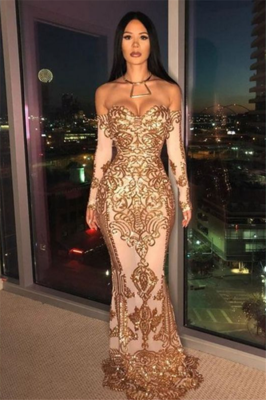 Off-the-shoulder Gold Appliques Prom Dress   Mermaid Long Sleeve Cheap Evening Dresses