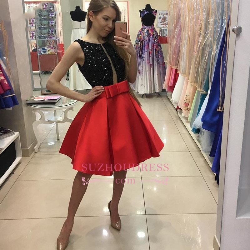 2020 Short A-Line Bowknot Sleeveless Sequined Homecoming Dresses