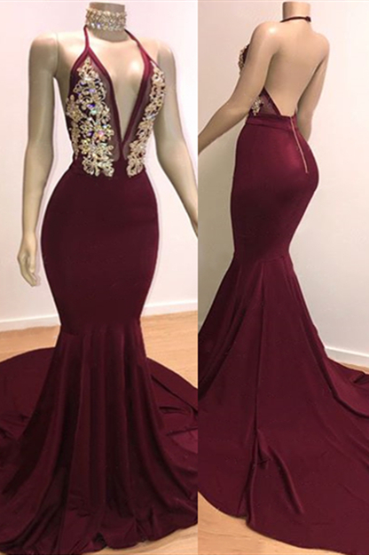 Backless Burgundy Prom Dresses 2020   Sleeveless Mermaid Cheap Evening Gowns with Crystals