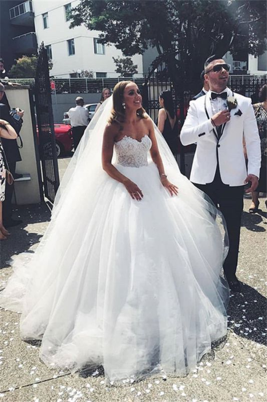 Strapless Tulle Lace Appliques Wedding Dresses | Sleeveless A-line Cheap Bridal Gowns
