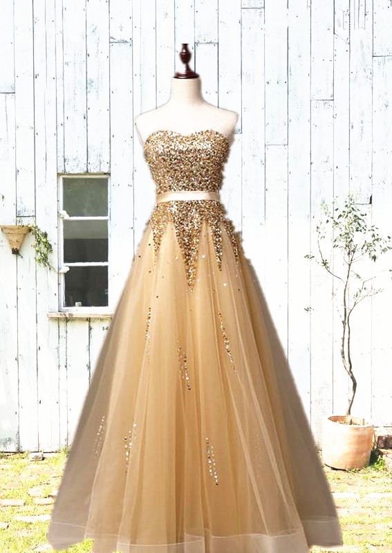 Sweetheart Organza Floor Length 2020 Prom Dresses Sequined Gorgeous Crystal Evening Dresses