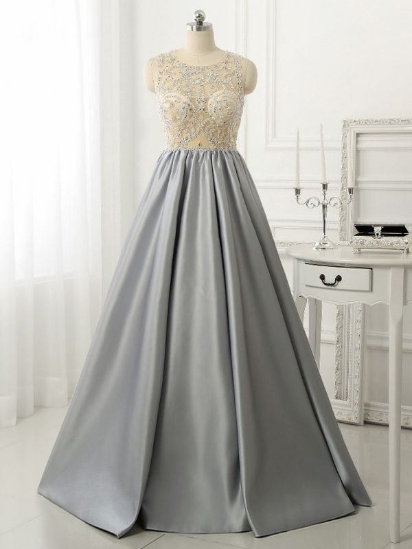 A-line Crystal Sleeveless Evening Dresses New Arrival Floor Length 2020 Prom Gowns