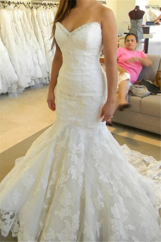 2020 Strapless Mermaid Wedding Dresses with Bling Bling Beads Lace Sleeveless Wedding Gowns
