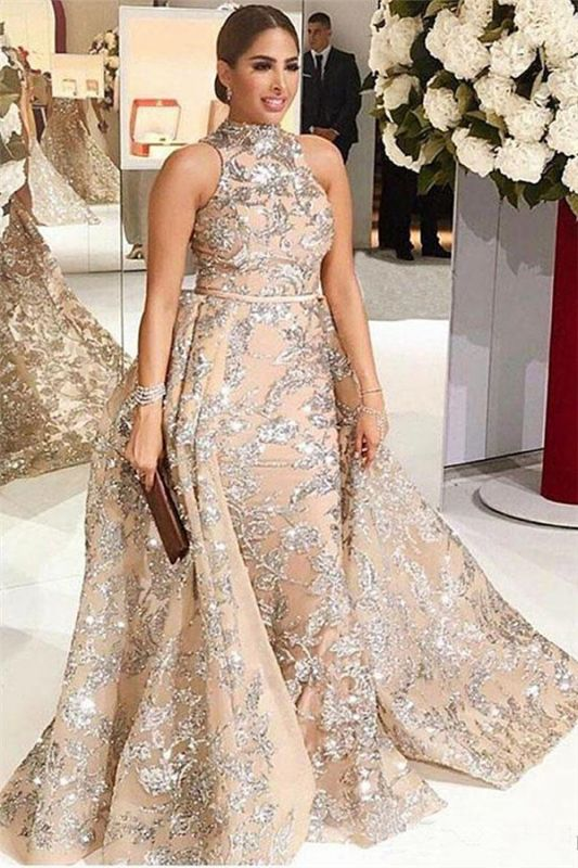 Silver Beads Lace Appliques Overskirt Prom Dresses 2020 | Sleeveless Champagne Sexy Evening Gown Cheap