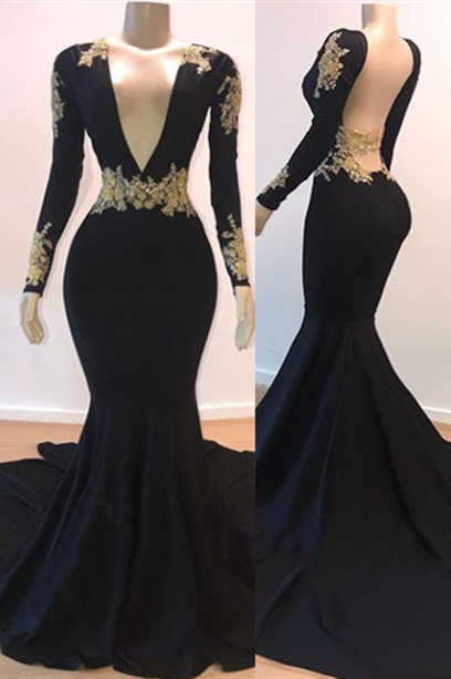 Open Back Gold Lace Black Prom Dresses Cheap 2020 | Mermaid Long Sleeve Formal Evening Gowns