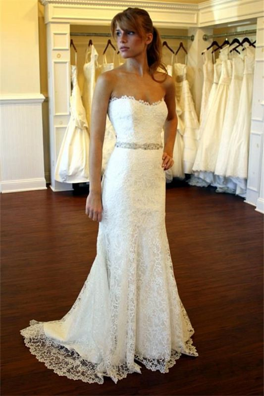 2020 Lace Country Wedding Dress Strapless Sheath Summer Beach Wedding Gowns with Crystals Belt BA8083
