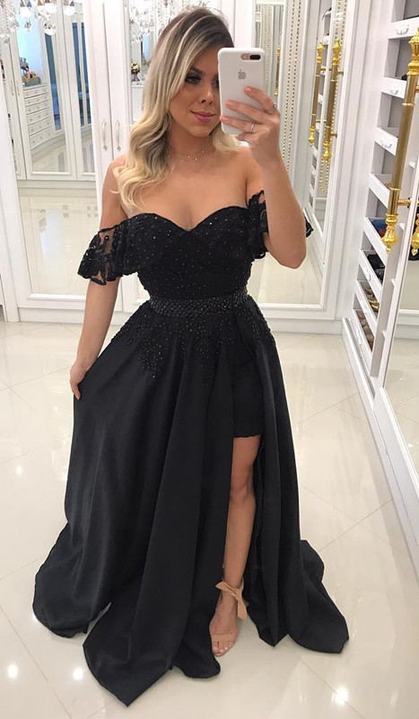 Newest Sheath Black Off-the-Shoulder Crystal Prom Dresses with Detachable Skirt BA7540