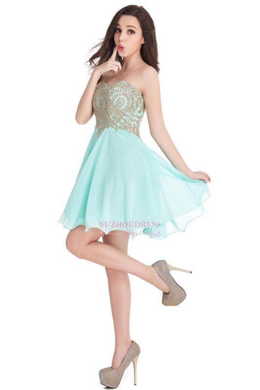2020 Sweetheart Cheap Mini Short Appliques Homecoming Dresses