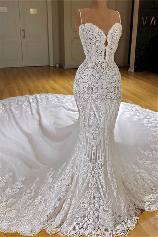 Spaghetti Straps Mermaid Lace Wedding Dresses with Cathedral Train