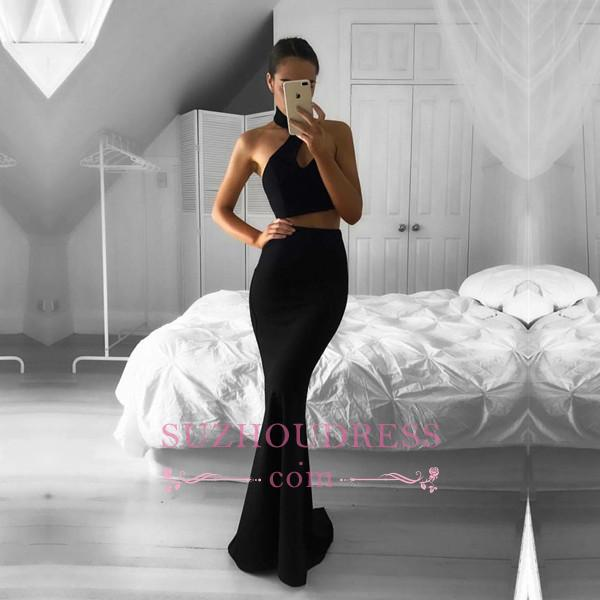 Mermaid Sleeveless Two-Piece Black Newest Halter Prom Dress BA4785