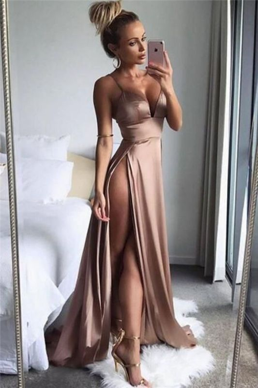 Sexy Side Slit Cheap Formal Evening Dresses | Spaghetti Straps Sleeveless Summer Party Dresses 2020