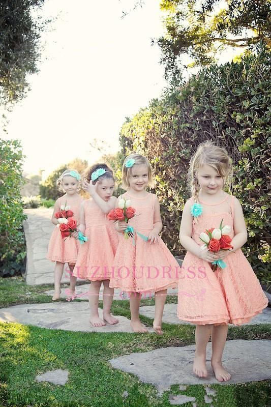 White Modern Knee length Lace Pageant Dresses A-line Illusion Sleeveless Flower Girl Dress