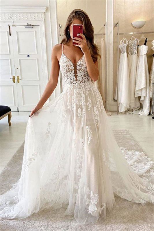Spaghetti-straps A-line Tulle Wedding Dresses | Lace Appliques V-neck Bridal Gowns