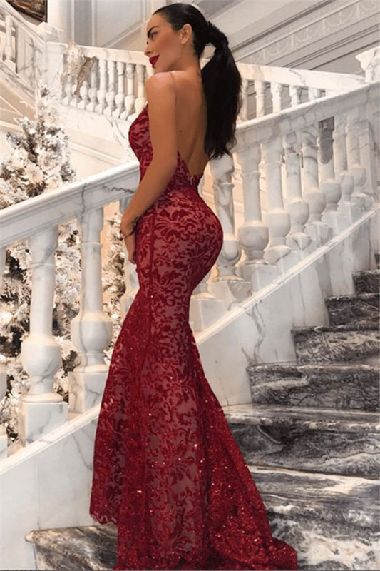 Sexy Backless Mermaid Sequins Prom Dresses 2020 | Cheap Red V-Neck Sleeveless Evening Dress BC0989
