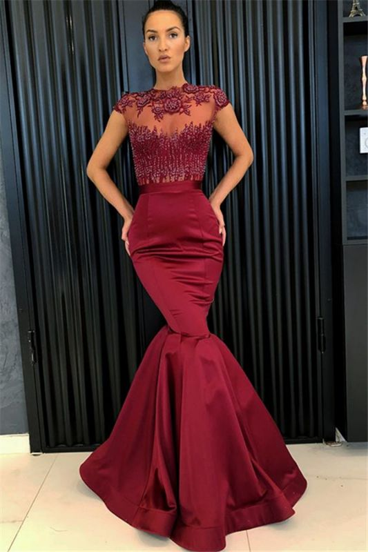 Sexy Burgundy Mermaid Evening Dresses 2020 | Cap Sleeves Appliques Beaded Evening Gowns