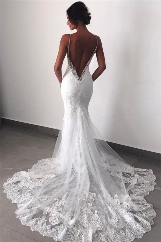 Backless Wedding Dresses Lace Mermaid | 2020 Sexy Spaghetti Straps Bride Dress Cheap