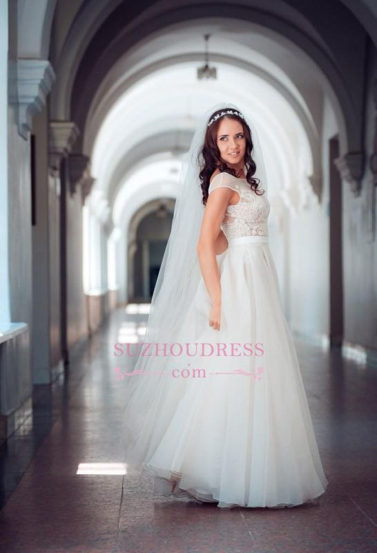 Elegant Tulle Lace Cap Sleeve Split Long Wedding Dress