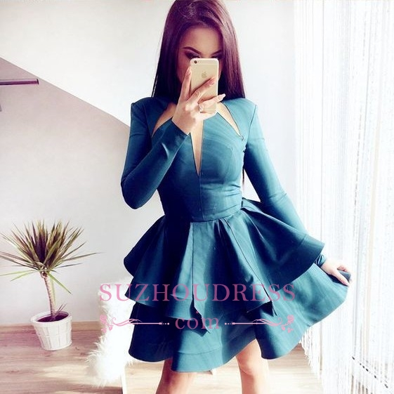 Layered A-line Short Long-Sleeves Alluring Jewel Homecoming Dresses