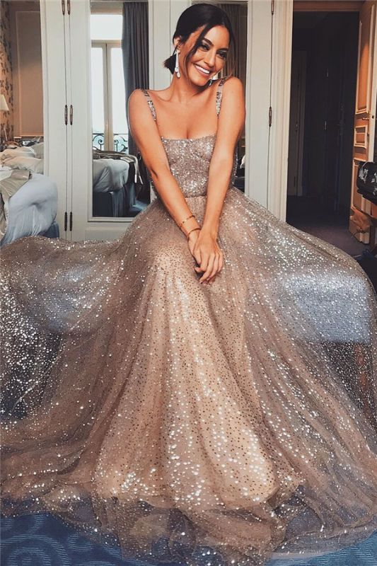 Sexy Straps Champagne Gold Sequins Evening Dresses | Sleeveless Sparkly Cheap Prom Dresses 2020