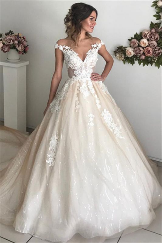 Glamorous Off-the-Shoulder Lace Appliques Wedding Dresses | 2020 Ivory Bridal Ball Gowns with Buttons