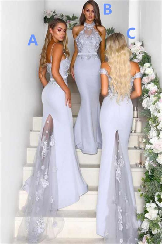 Lace Appliques Airy Blue Bridesmaid Dresses Cheap   Sexy Long Maid of Honor Dresses 2020 Online