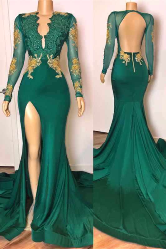 Open Back Sexy Side Slit Green Prom Dresses Long Sleeves On Sale