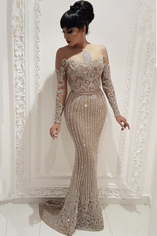 Sparkly Beads Sequins Sexy Evening Dresses 2020 |  Mermaid Long Sleeve Nude Lining Prom Dresses BC0635