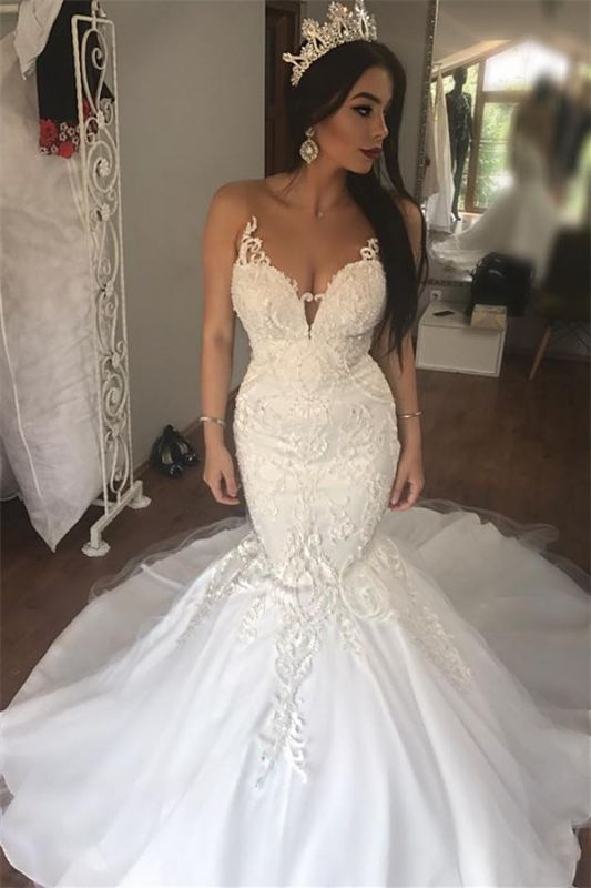 Sleeveless See Through Tulle Sexy Wedding Dresses   Mermaid Beads Appliques Bridal Dress with Long Train WE0207