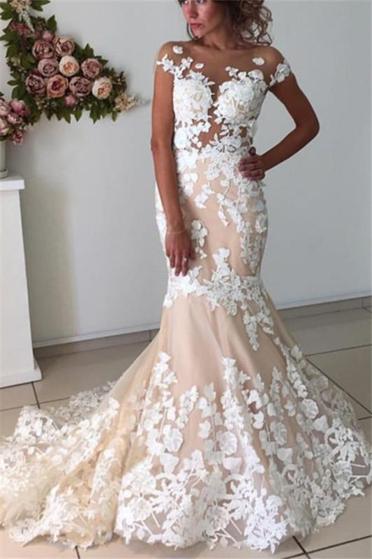 Champagne Pink Lace Appliques Wedding Dresses 2020 | Short Sleeves Mermaid Backless Bridal Dress Cheap