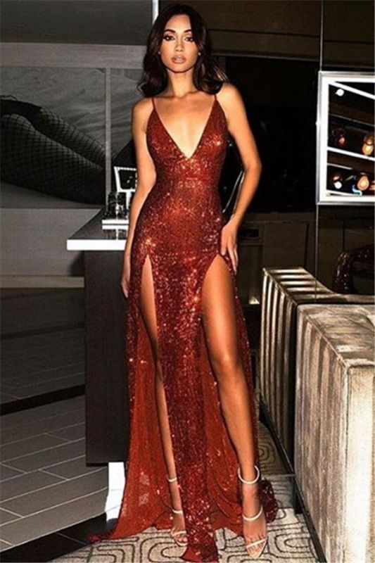 Cheap Sequins Sexy Side Slit Evening Dresses | 2020 Long Spaghetti Straps Backless Prom Dresses