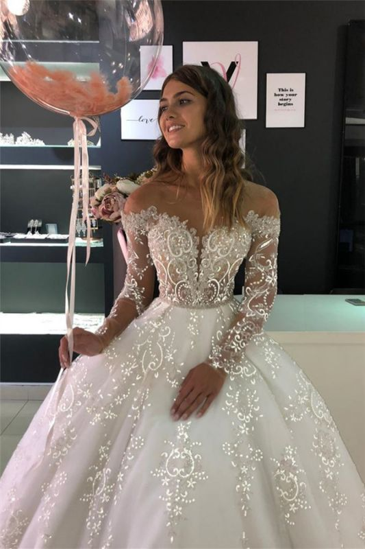 Sheer Tulle Sparkle Lace Wedding Dresses with Sleeves | Princess Ball Gown Bridal Dresses with Court Train Cheap