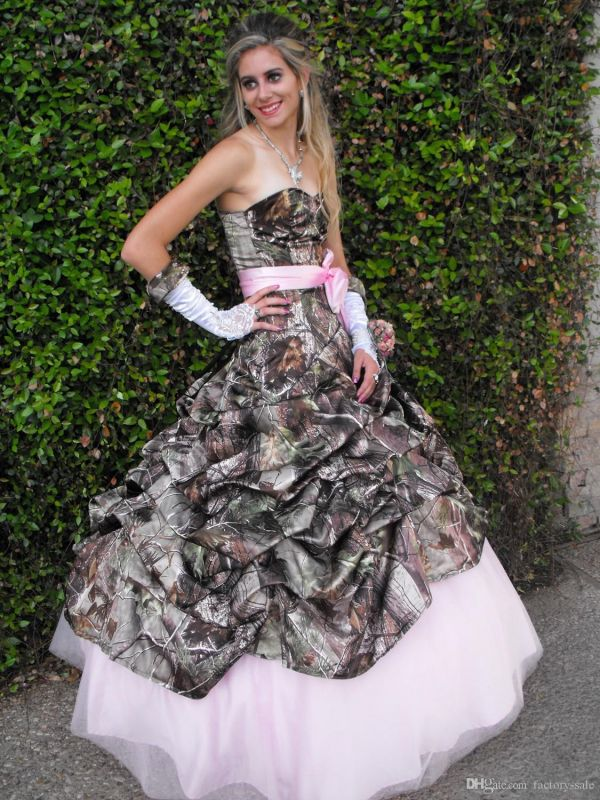 Cute Pink Camo Wedding Dress Sweetheart Drapped Ball Gown Vintage Forest Prom Dresses