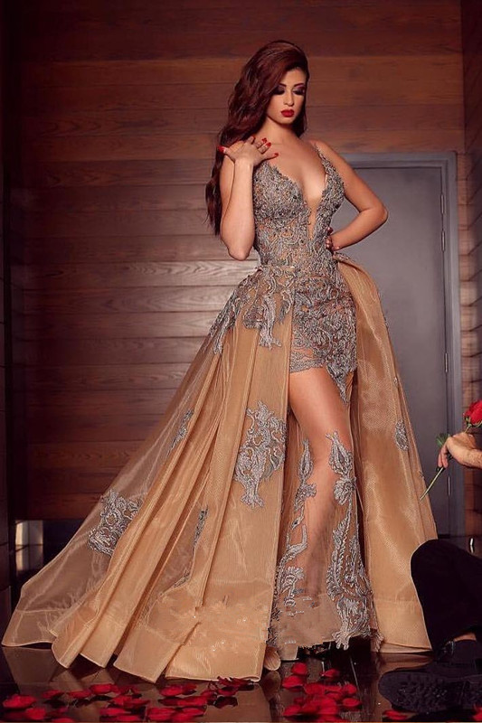 Gorgeous Beading Appliques V-neck Prom Dress | Detachable Mermaid Tulle Spaghetti Straps Evening Gowns